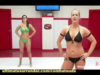 big tits lesbo wrestling and strap-on fucking
