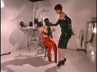 hawt lesbos in red and dark leather
