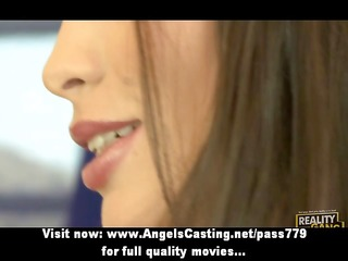 lesbo brunette hair beauties cooking and flashing