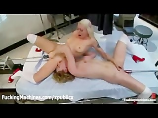 lesbians copulates fucking machines in hospital