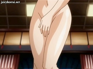 busty brunette hair hentai is shy and acquires