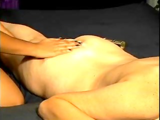 golden-haired playgirl in lesbo action with an