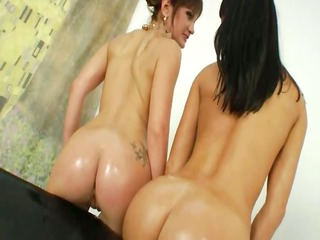 extreme sapphic babes dildoing a-hole holes